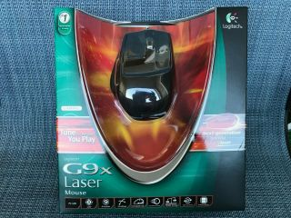 Logitech G9x Laser Mouse 5700 Dpi Braided Cable - Very Rare - Black Version