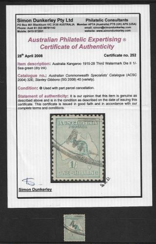 Roos – 1/ - (3rd Watermark) Rare Shade Sea - Green With Certificate (cv $300)