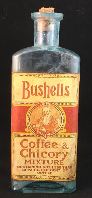 Vintage Bushells Coffee & Chicory Mixture Glass Antique P T & Co Bottle & Label