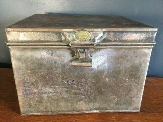 Antique Vintage Metal Tool Box Deed Box Hat Box R H Haggard & Sons Ironmonger