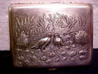 EARLY RUSSIA SOVIET SILVER PLATED CIGARETTE CASE REPOUSSED COVER HUNTERS AT REST 2