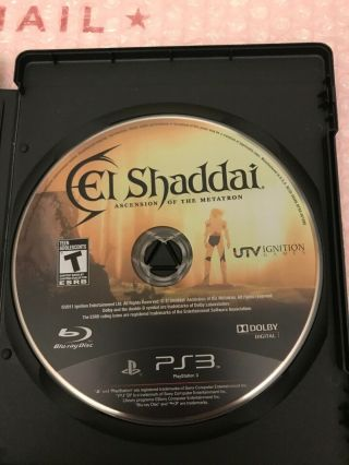 Rare El Shaddai: Ascension Of The Metatron Sony Playstation 3 2011 Disc Only Us