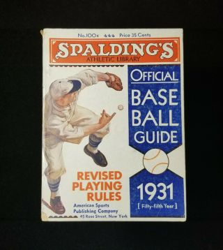 1931 Spalding Guide Antique Baseball Official Athletic Library Vtg Booklet Ex