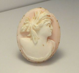 Fine Antique High Relief Carved Angel Skin Unmounted Loose Cameo Shell Brooch
