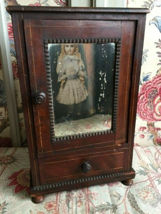 Antique French Miniature Wood Doll Wardrobe Closet Armoire Furniture Mirrored