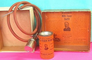 "Antique Dr Roberts Cow Veterinary Medicine Box Tin "" Plus "" Vet Remedy Milk Fever"