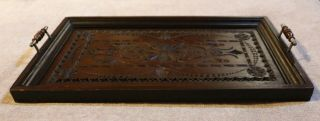 Vintage Dark Stained Serving Tray - Carved And With Handles - 51cm X 30cm