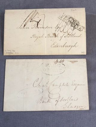 2 Rare Portugal Folding Letter Covers Madeira To Scotland Stampless 1831 & 1841