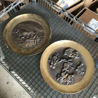 2 Vintage Rare 1950's Korean 11 Inch Solid Brass Charger Plate