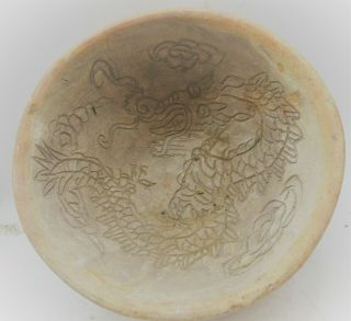 Old Antique Chinese Ceramic Bowl With Dragon Motifs