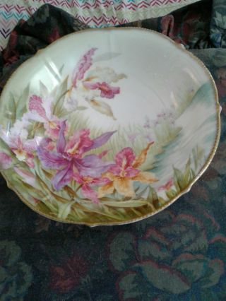 Antique Porcelain Handpainted Large Bowl With Orchids And Gold Border