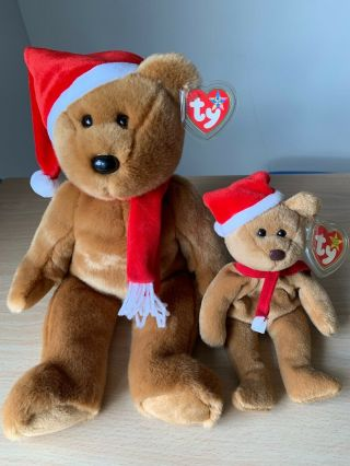 Ty Beanie Baby 1997 Holiday Teddy Bear Rare With Errors And Ty Buddy Plush Toys