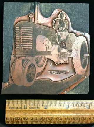 Large Antique 1930s 1940s Massey Harris 22 44 ? Tractor Advertising Print Block