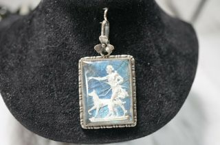 Antique Reversed Painted Glass Art Deco Lady & Dog Pendant