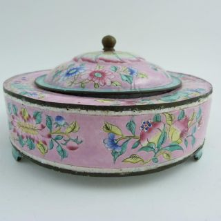 19th Century Chinese Canton Enamel Circular Box And Cover