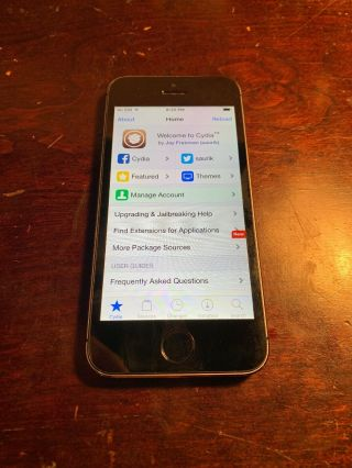 Rare - Apple Iphone 5s Space Gray 32gb - (cdma) Jailbroken Ios 8.  1.  2