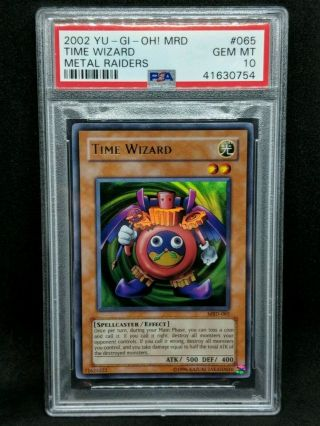 Yu - Gi - Oh Psa 10 Time Wizard Ultra Rare 1 Of 8 Unlimited Rare