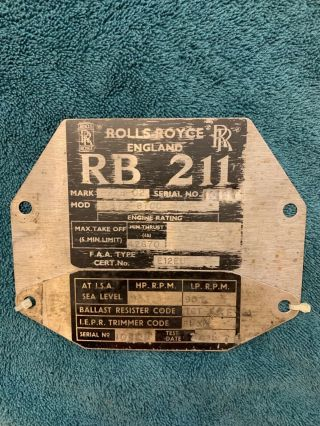 Rolls - Royce Vintage Jet Engine Rating Id Plates Actually Mounted On Engine