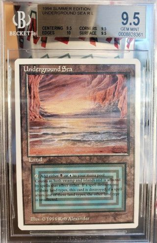 Vintage Mtg | Gem Bgs 9.  5 Summer Magic Underground Sea,  Quad,  10