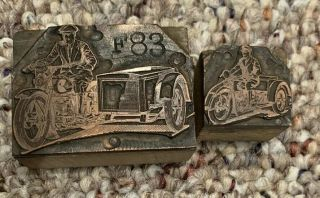 1920s Letterpress Printing Block Cut Antique Motorcycle With Sidecar