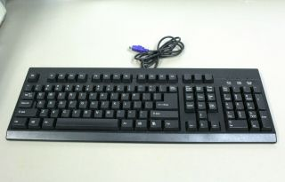 Rare Ps/2 Windows Pc Black Computer 101 Keyboard Wired Male 6 Pin Ps2 Connector