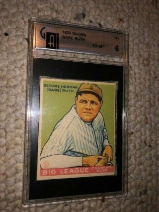 1933 Goudey Babe Ruth 181 Ex - Mt Gai 6 Very Rare Surface Not Psa Or Sgc