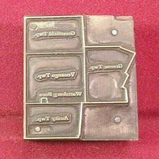 Antique Copper Letterpress Greenfield,  Amity,  Township Map Erie Co Print Block