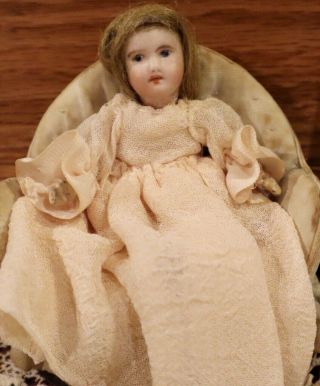 "Antique Rare French Miniature 4 "" Bisque Sfbj Doll For Dollhouse In Smallest Size"