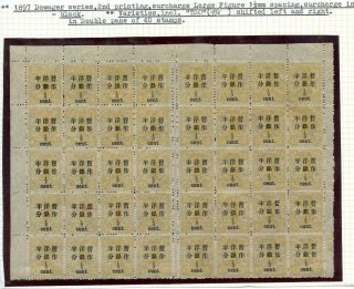 1897 Dowager Surcharge 1/2ct On 3cds Complete Sheet Of 40 Chan 74 Rare