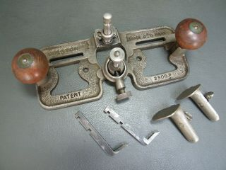 Rare Vintage Router Plane No 2500p Old Tool Complete With 2 Cutters By Preston