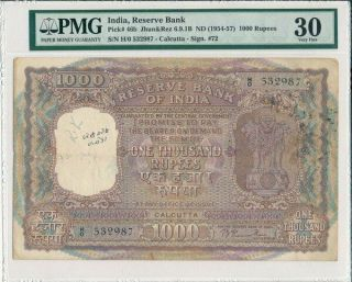 Reserve Bank India 1000 Rupees Nd (1954 - 57) Calcutta,  Rare Type Pmg 30