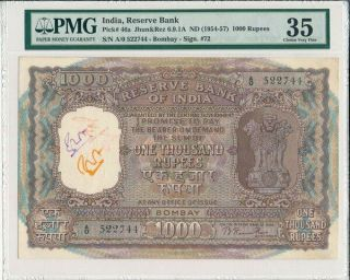 Reserve Bank India 1000 Rupees Nd (1954 - 57) Bombay,  Rare Type Pmg 35
