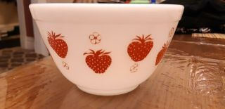 Pyrex Red Strawberry Rare 401 Bowl Unmarked Htf Fruit Holy Grail