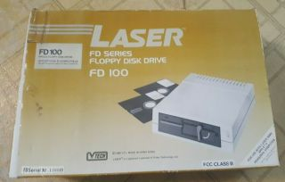 Rare Vint.  Laser Ext Floppy Disk Drive - (apple Iie Iic Compatible) Mib Nos?