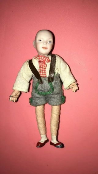 30s 40s Bavarian Caco Boy Doll Metal Feet Hands Antique Germany Porcelain Head