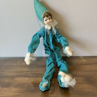 "Vintage 24"" Long Aqua Blue White Elf Point Hat Fabric Lace Long Hand & Leg Doll"