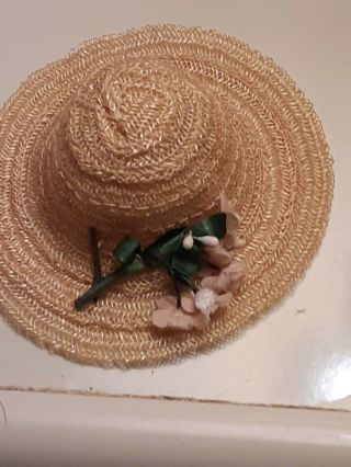 Vintage Beige Doll Horsehair Hat W/ Chenille Flowers Ginny Muffie Ginger