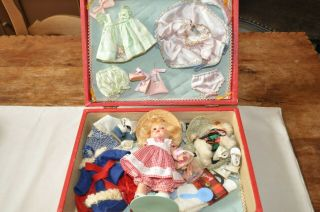 Rare 1952 Vogue Ginny Rich Uncle Case,  Strung Doll,  Outfits,