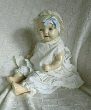 Doll Vintage Baby Play Boy Girl Lace Satin Unique Composition Cloth Toy Collect