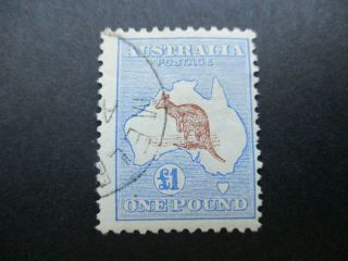 Kangaroo Stamps: £1 Blue & Brown 1st Watermark Cto - Exceptionally Rare (d142)