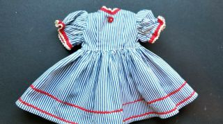 "Vintage 1950,  S Blue Stripe Doll Dress With Red Rick Rack Fits 18 "" Hard Plastic"