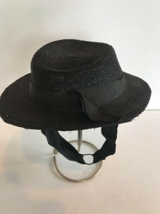 Antique Black Hat For Bisque Doll W Adjustable Chin Strap Child