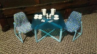 Vintage Barbie Dream House Blue Kitchen Dining Table Chairs And Serving Set