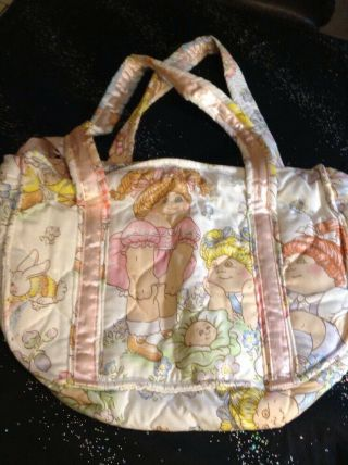 Vintage Cabbage Patch Doll Printed Fabric Tote Dipper Bag