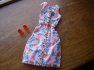 Vintage Barbie Doll Shirtwaist Dress And Shoes