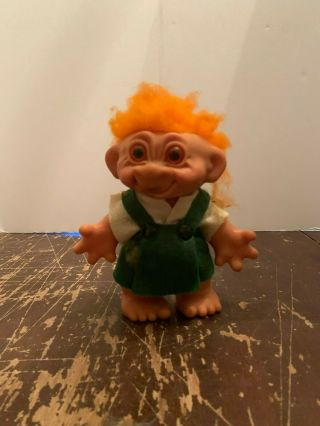 Vintage Thomas Dam Orange Haired Troll Doll Bank Made In Denmark