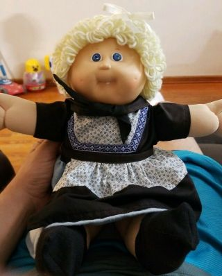 Cabbage Patch Doll Vintage 1986 Blonde Hair Blue Eyes Red Signature Excell