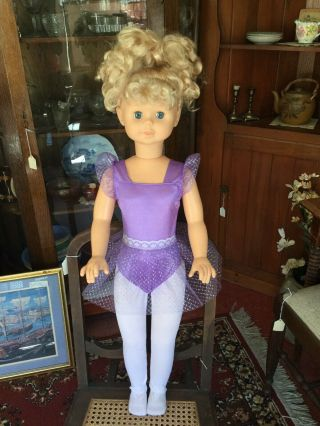 "Vintage 1990 Cititoy Doll 30 "" Blonde Hair & Blue Eyes Tutu & Tights"