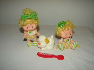 Vintage Strawberry Shortcake Lem And Ada Dolls And Sugarwoofer Pet