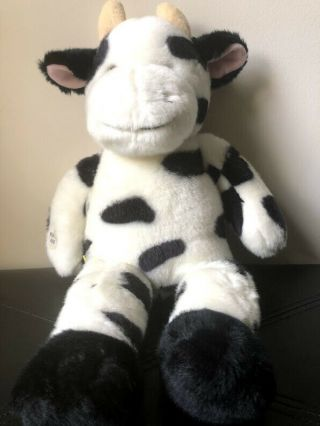 "Build A Bear 17 "" Plush Holstein Black & White Cow With Sound "" Moo """